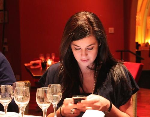Leyla on her BlackBerry