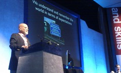 Roger Shank making his keynote address at LT11UK (try and zoom into the signage on his slide for a giggle)
