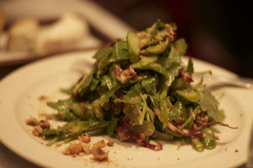 asparagus & hazelnuts with mixed greens