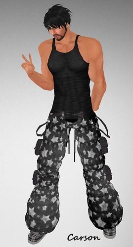 MHOH4 # 74 - AoD Designz Baggy Starzzz Pants Black Tank and Belt