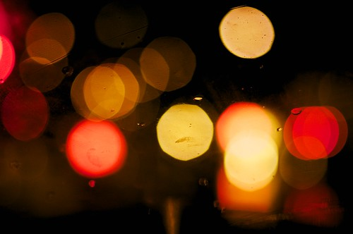 Street Lights from Behind a Rainy Windshield