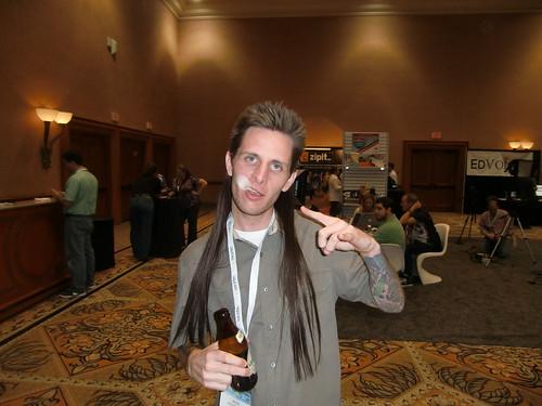 Jason Rubacky and a face ghost at BlogWorld 2010