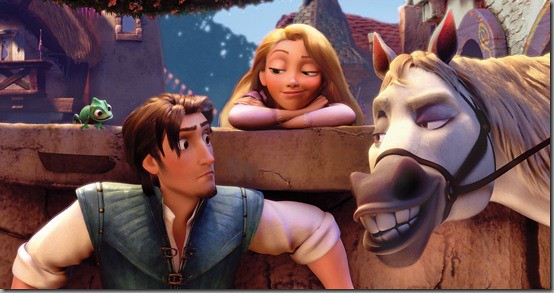 The four key characters: Rapunzel, Flynn Rider and two animal side-kicks for comic relief
