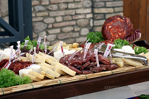 Salame (dolce e piccante), Soppressata, and other cheeses at a Pugliese wedding in Abruzzo