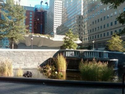 Irish Hunger Memorial,  Waterfall, & 1 WTC