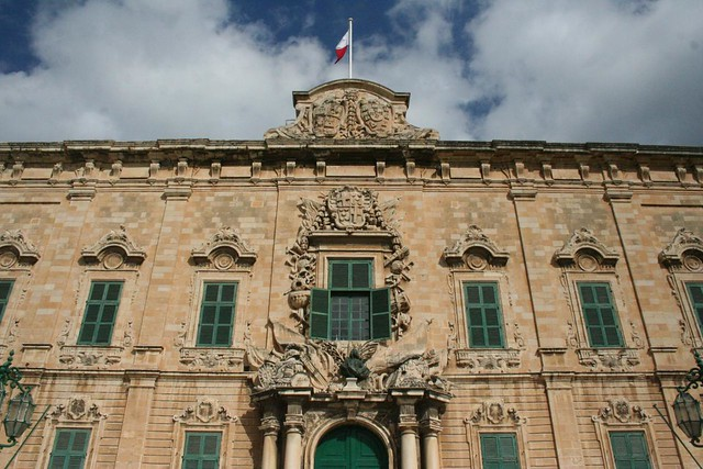 Facade of Auberge de Castille and Portugal in Valletta Malta