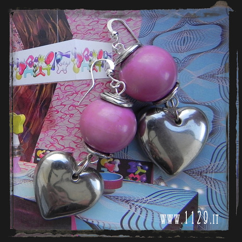 LHCUOR orecchini rosa cuore - pink heart earrings 1129
