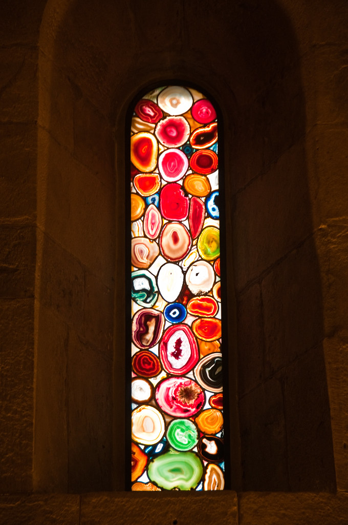 Stained Glass window with agates