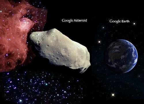 Google Asteroid spins haphazardly through virtual space.