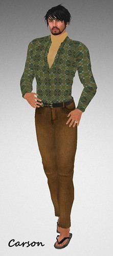MHOH4 # 63  Carrasco's Brown Corduroys Green Print Shirt and Gold Turtleneck