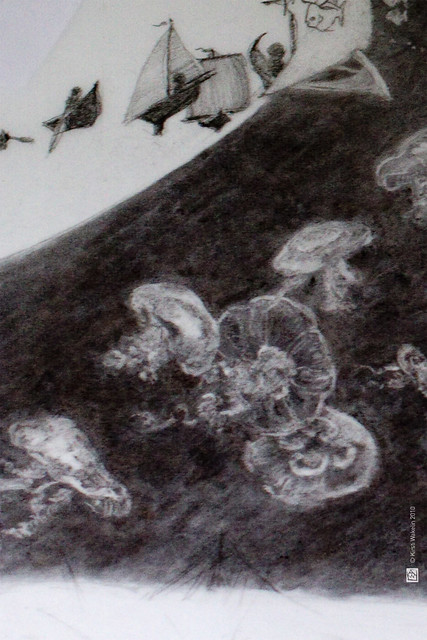 Moon + moon jellies [detail]