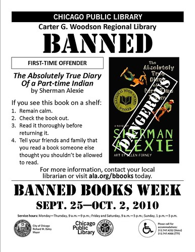 The Absolutely True Diary of a Part-time Indian by Sherman Alexie Banned Books Week 2010 Flyer