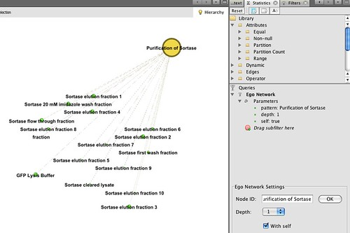 Applying a gephi ego filter to a set of linked posts from a lab notebook