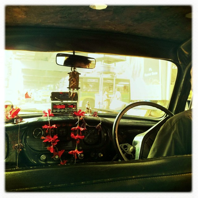 Inside of a Calcutta taxi