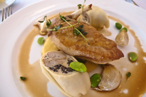 Guinea fowl with sweetbread and morel cannelloni