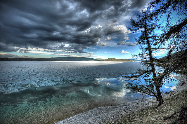 Lake Khovsgol, ice and clouds
