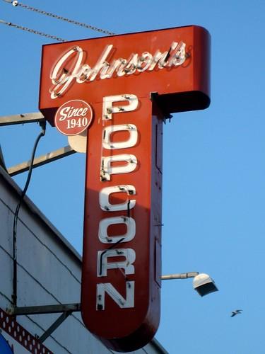 Johnson's Popcorn Sign