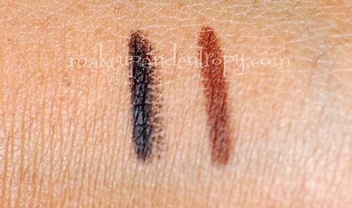 Naked palette-eyeliner swatch