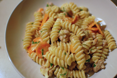 Creamy Carrot, Leek and Sausage Pasta