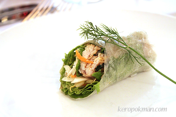 Pan-fried turmeric and dill sole fillets, rolled in soft rice paper and mint leaves