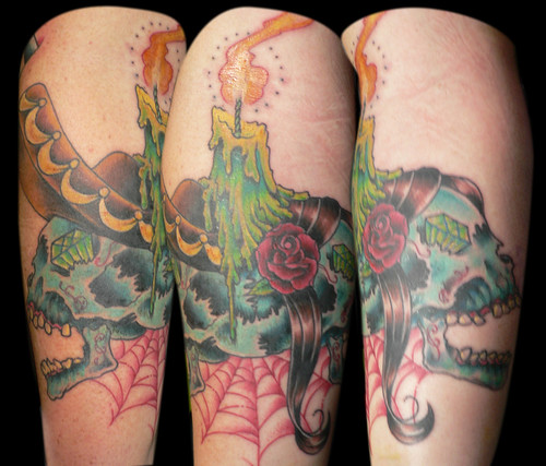 Day of the Dead Sugar Skulls and Candle Tattoo