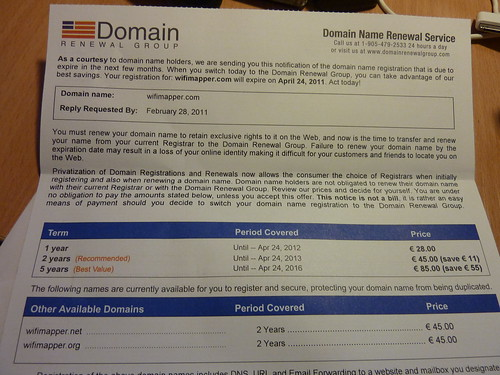 Domain Renewal Group Scam