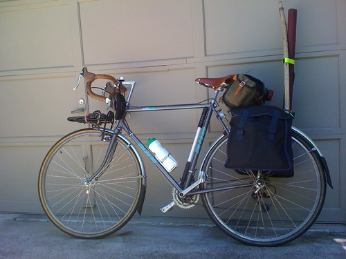 image: touring bicycle with fishing gear