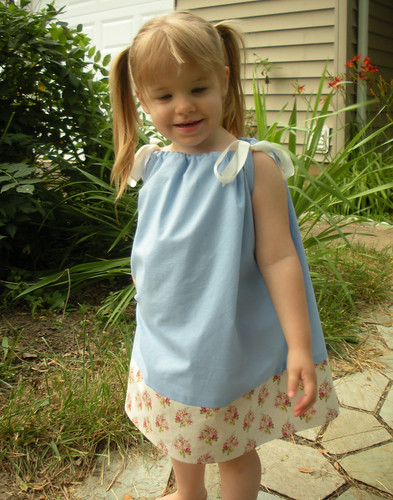 pillowcase dress blue with cream
