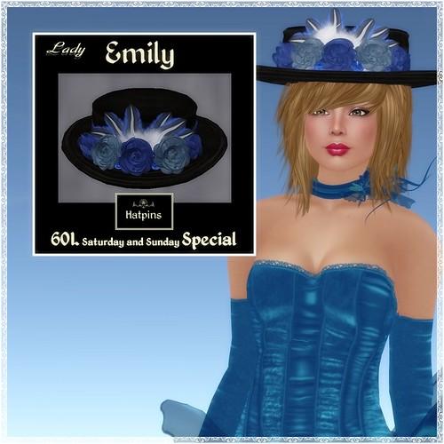 Hatpins - Lady Emily - Bluejay Velvet - Sixty Linden Weekend