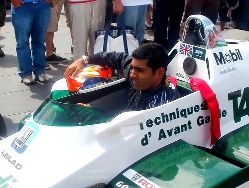 Karun Chandhok sits in a Williams F1 car