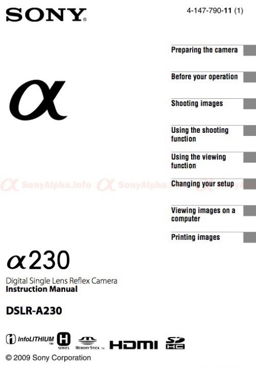 Sony Alpha A230 user manual