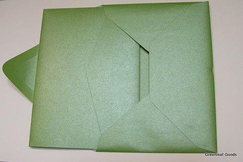 Our envelopes and pocketfolds were shiny green