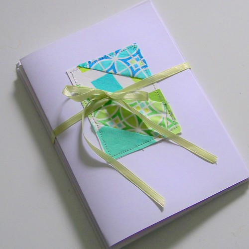 blue/green/aqua fabric patchwork notecards