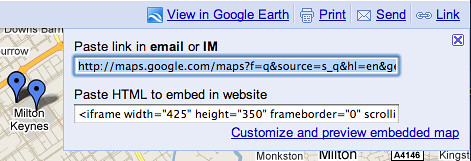 Grabbing a link to, or iframe code for, a google map