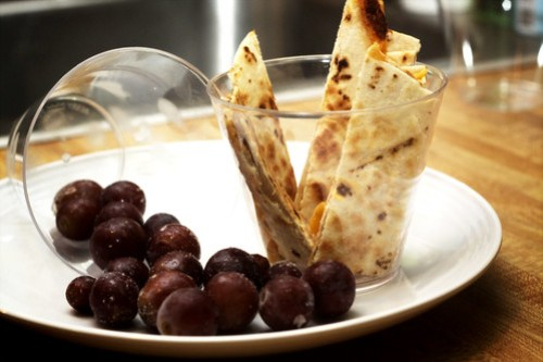 quesadilla strips and grapes