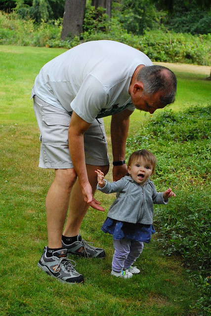 Walking with Grandpa is so much fun!