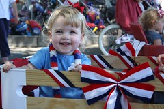 Juliet in her wagon at the town parade