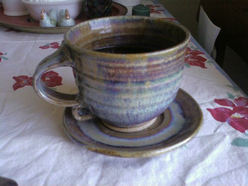 Coffee tastes better from a hand-thrown cup and saucer.