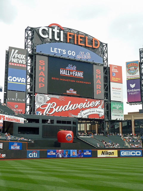 The CitiField scoreboard before the Mets Hall of Fame Induction Ceremony