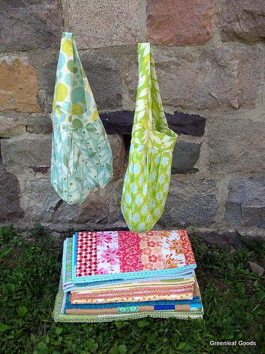Stack of wedding quilts and bags