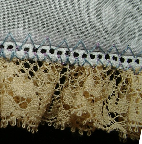 gathered lace to entredeux to fabric