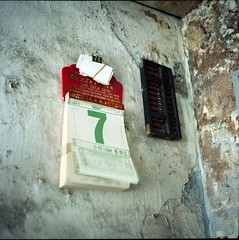 days slipping by (lcy) Tags: stilllife 6x6 tlr mediumformat urbandecay ishootfilm unesco worldheritagesite squareformat barber nostalgic melaka malacca 120mm oldshop c41  kodakportra160nc epsonv700 mamiyac330f sekor65mmf35 malaysia2010