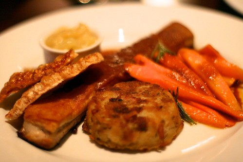 The Ginger Dog - Belly pork served with crackling, baby carrots, bacon potato rosti, and bramley apple sauce (approx £13.50)