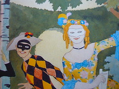 clown, masked lady detail