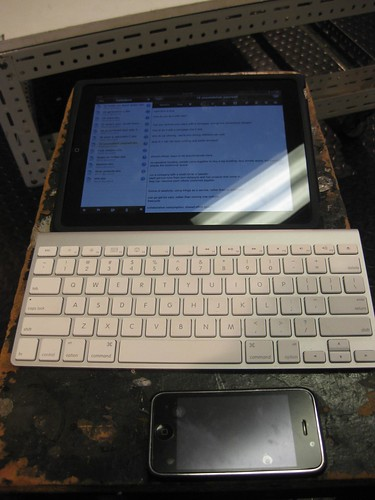 my trusty rig for the day - iPad, keyboard and my iPhone.