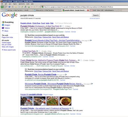 Punjabi Chhole Google search