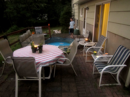 The cleaned up yard by candlelight