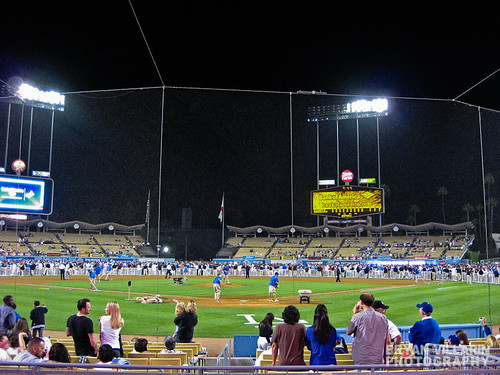 Waiting for fireworks at Dodger Stadium