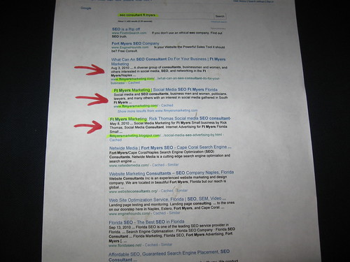 1st page of Google search results for SEO Consultant Ft Myers