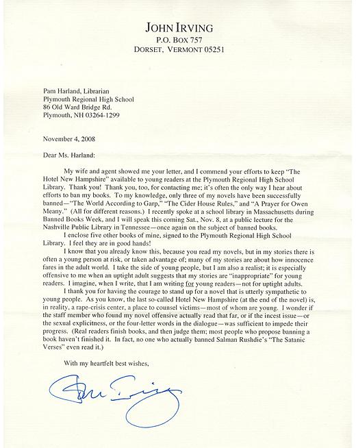 Letter from John Irving